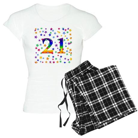 Rainbow Stars 21st Birthday Women's Light Pajamas