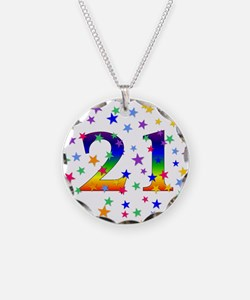 Rainbow Stars 21st Birthday Necklace