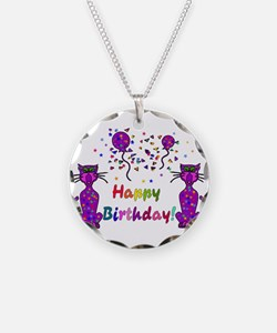 Purple Birthday Cats Necklace Circle Charm