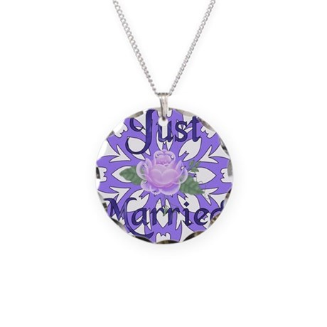 Just Married Lavender Rose Necklace Circle Charm