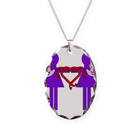 Same Sex Marriage Female Necklace Oval Charm