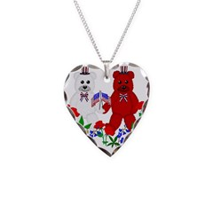 Independence Day Teddy Bears Necklace