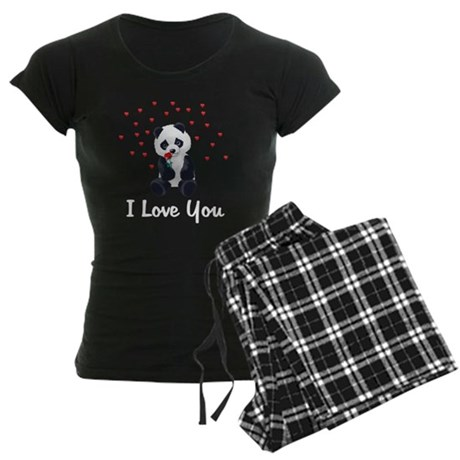 Panda Bear Valentine Women's Dark Pajamas