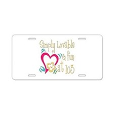 Lovable 103rd Aluminum License Plate