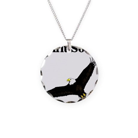 Eagle Soars Necklace Circle Charm