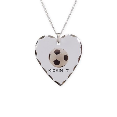 Soccer Ball Necklace Heart Charm