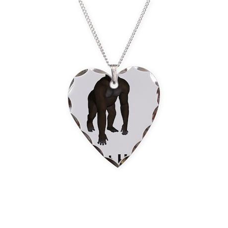 Bigfoot Hunter Necklace Heart Charm