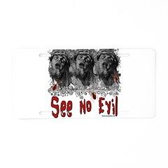 Grunge See No Evil Aluminum License Plate