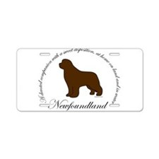 Devoted Brown Newf Aluminum License Plate