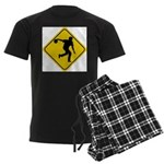 Bowling Crossing Sign Men's Dark Pajamas