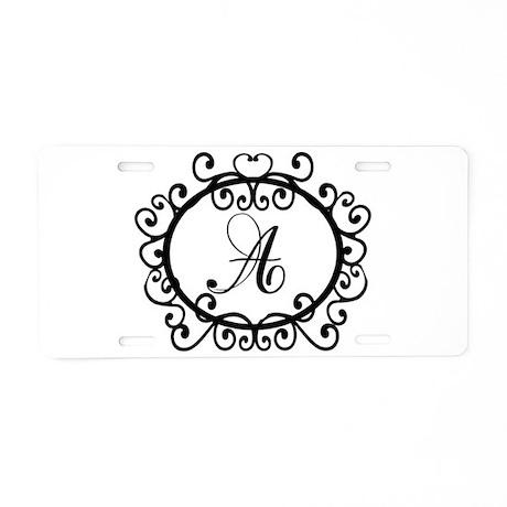 A Monogram Initial Letter Aluminum License Plate