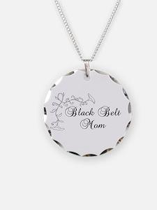 Black Belt Mom Necklace Circle Charm