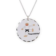 Funny Black belt Necklace Circle Charm