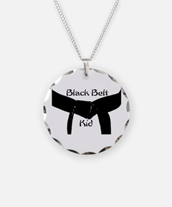 Black Belt Kid Necklace Circle Charm
