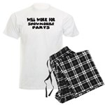 Will Work For Snowmobile Part Men's Light Pajamas