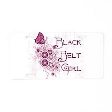 Black Belt Girl Aluminum License Plate