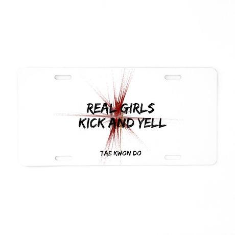 Taekwondo Girls Kick Aluminum License Plate
