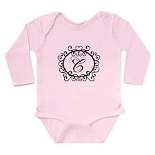 Letter C Initial Monogram Long Sleeve Infant Bodys