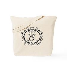 Letter C Initial Monogram Tote Bag