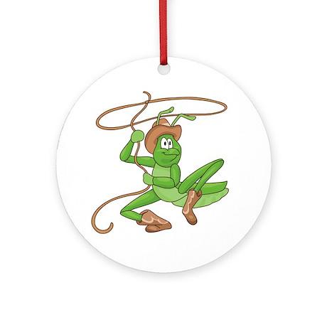 Grasshopper Cowboy Ornament (Round)
