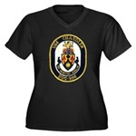 USS CHANDLER Women's Plus Size V-Neck Dark T-Shirt