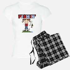 Stick Figure Girl Fishin' Pajamas
