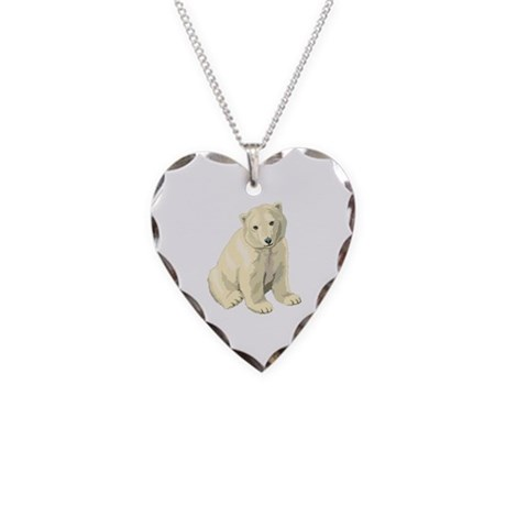 Polar Bear Gift Necklace Heart Charm