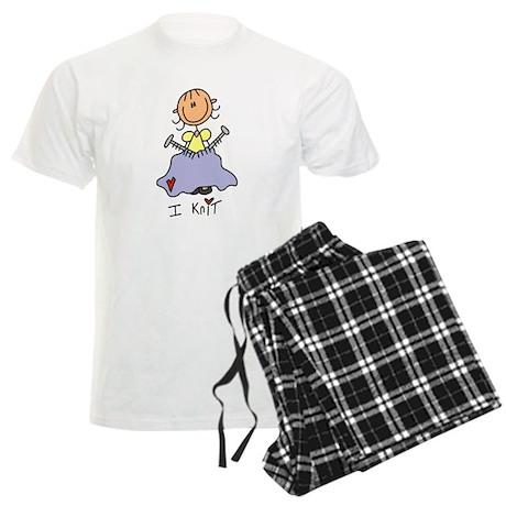 I Knit Stick Figure Men's Light Pajamas