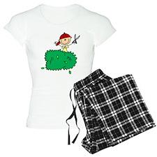 Stick Figure Trims Hedge Pajamas