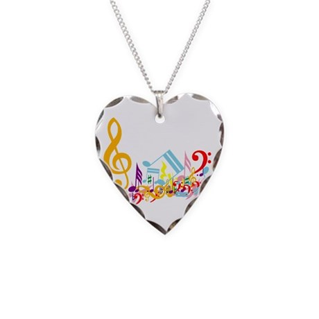 Mixed Musical Notes (color) Necklace Heart Charm