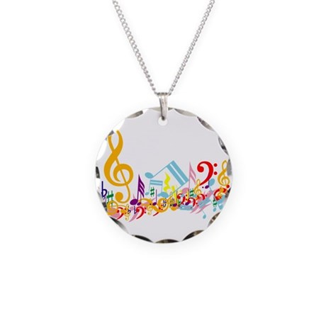 Mixed Musical Notes (color) Necklace Circle Charm