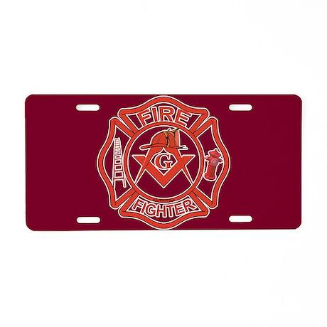 Masonic Fire Fighters Aluminum License Plate