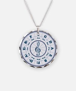 Blue Circle of Fifths Necklace Circle Charm