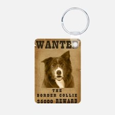 """Wanted"" Border Collie Aluminum Photo Keychain"