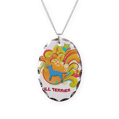 Groovy Bull Terrier Necklace Oval Charm