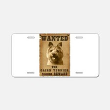 """""""Wanted"""" Cairn Terrier Aluminum License Plate"""