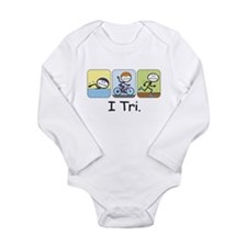 Triathlon Stick Figure Long Sleeve Infant Bodysuit