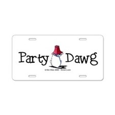 Westie Party Dawg Aluminum License Plate