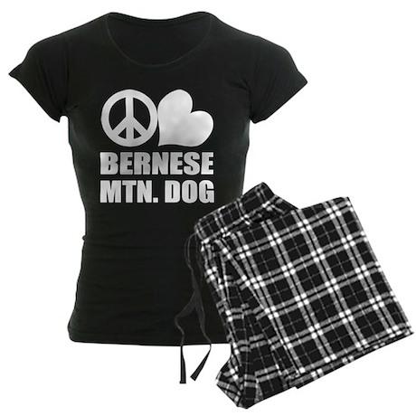 Peace Love Bernese Mtn. Dog Women's Dark Pajamas