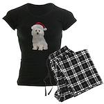 Bichon Frise Santa Women's Dark Pajamas