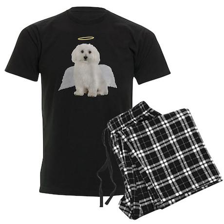 Angel Bichon Frise Men's Dark Pajamas