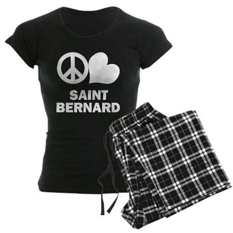 Peace Love Saint Bernard Women's Dark Pajamas