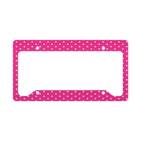 Tiny Hearts Pink License Plate Holder Gift