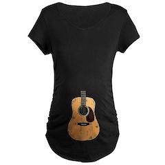Acoustic Guitar (worn look) Maternity Dark T-Shirt