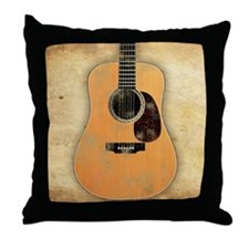 Acoustic Guitar (worn look) Throw Pillow