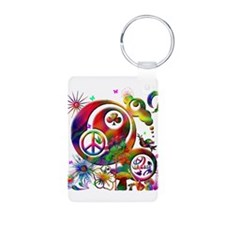 Lucky Peace Sign Collage Keychains