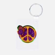 Flower Power Peace Sign Keychains