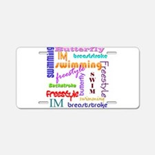 Swimming Everywhere Aluminum License Plate