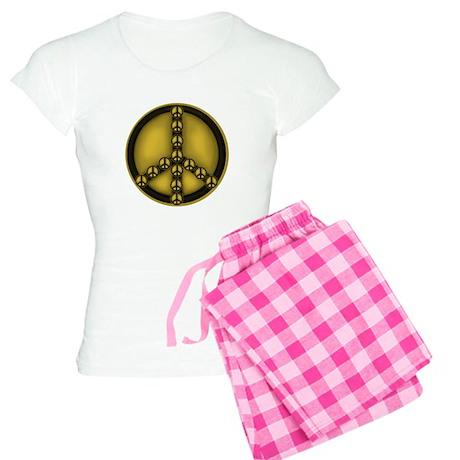 Gold Peace Sign Women's Light Pajamas
