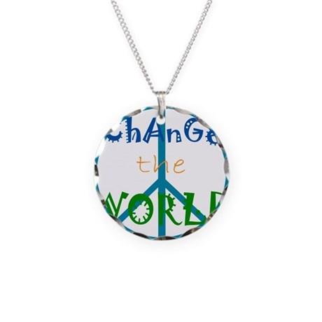 Change The World Peace Sign Necklace Circle Charm